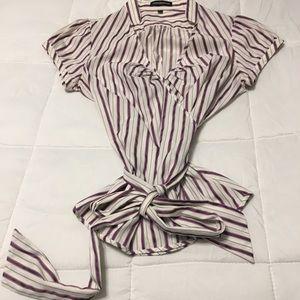 EUC Express Striped Wrap Blouse